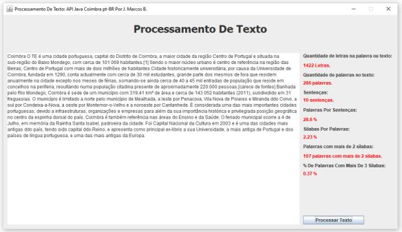 Processamento De Texto Com As APIs Coimbra pt-BR & Silabas pt-BR